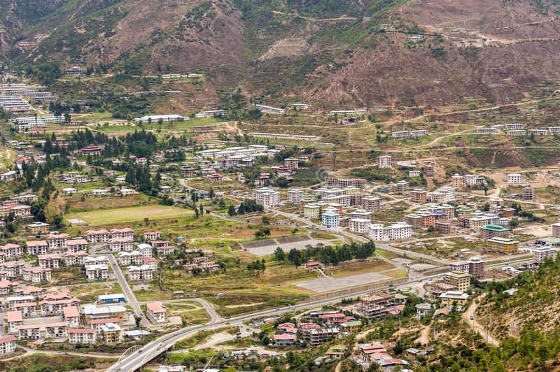 Aerial view of Thimphu city in Bhutan royalty free stock photos