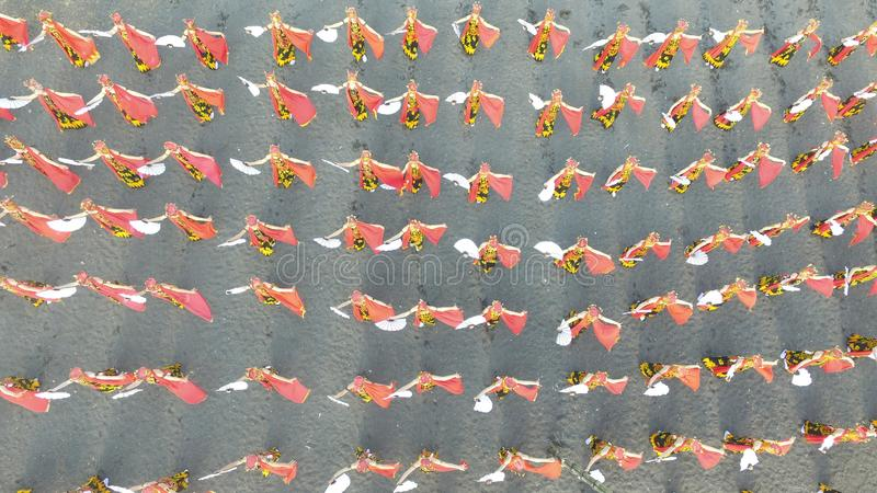 Sewu Gandrung Dance is traditional dance from Banyuwangi East Java. Aerial view of thousand Pacu Gandrung Traditional Dance from Banyuwangi east java royalty free stock image