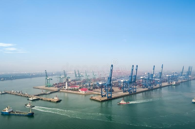 Aerial view of tianjin port stock images