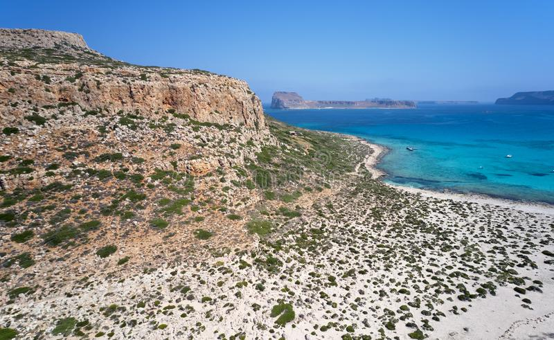 Aerial view on Tigani cape and Balos lagoon with Gramvoussa island on background. Dimos Kissamou, Chania prefecture, Crete, Greece royalty free stock photography
