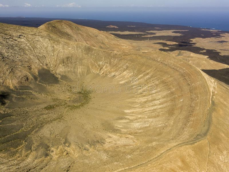Aerial view of Timanfaya, national park, Caldera Blanca, panoramic view of volcanoes. Lanzarote, Canary Islands, Spain. Aerial view of Timanfaya, national park stock images