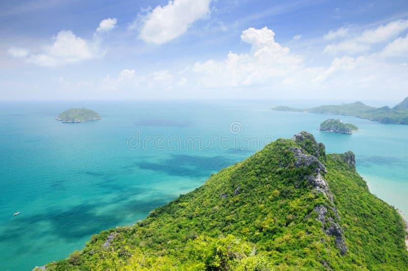 Aerial view of tiny uninhabited islands in the Gulf of Thailand near coastline of Prachuap Khiri Khan province stock photos
