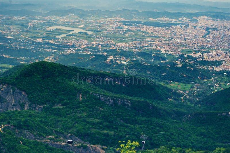 Aerial view of Tirana, capital of Albania from nearest mountains Dajti royalty free stock photography