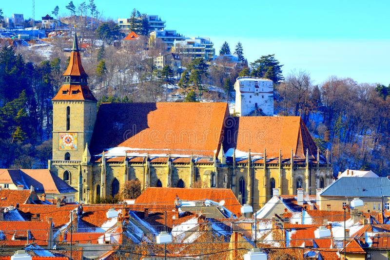 Aerial view to Black church. Typical urban landscape of the city Brasov, a town situated in Transylvania, Romania stock photos