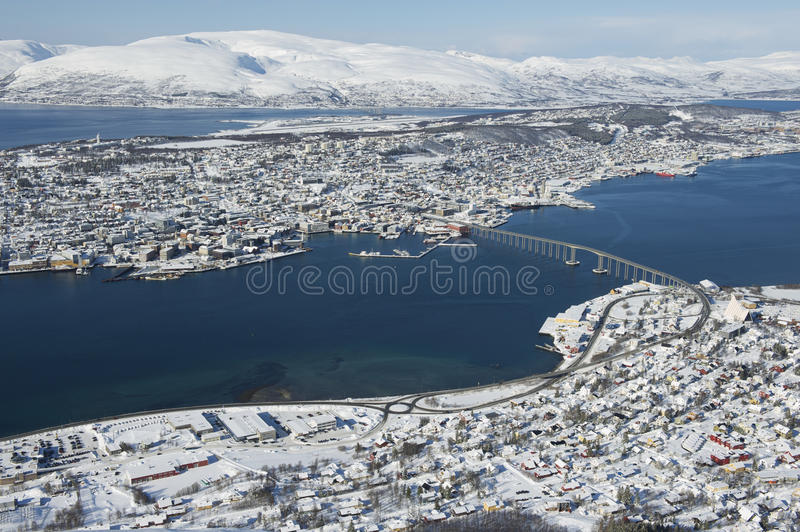 Aerial view to the city of Tromso, 350 kilometers north of the Arctic Circle, Norway.  stock photos