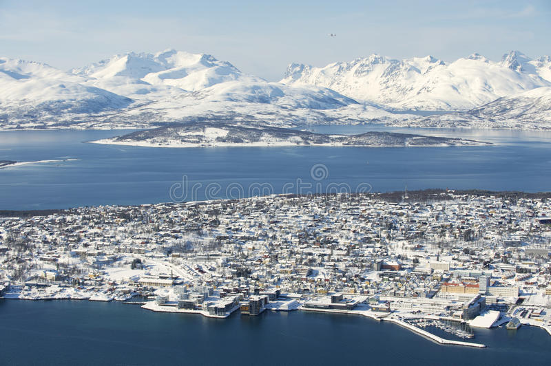 Aerial view to the city of Tromso, 350 kilometers north of the Arctic Circle, Norway.  stock photography