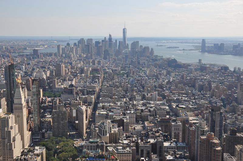 Aerial view to down town of Manhattan from the Empire State Building in New York stock image