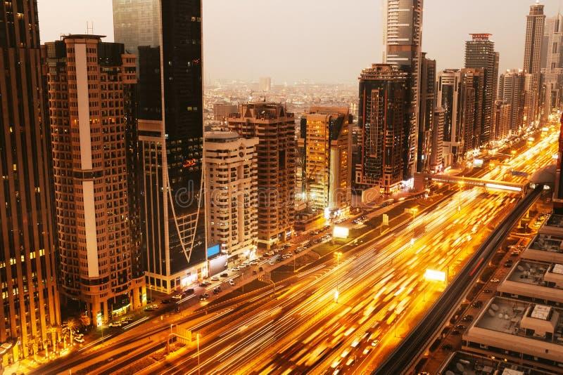 Aerial view to Dubai downtown city center royalty free stock photos