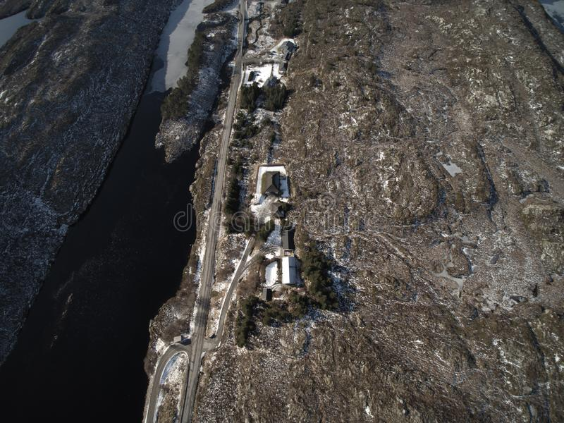 Aerial view to filling in the winter covered with snow. stock photography