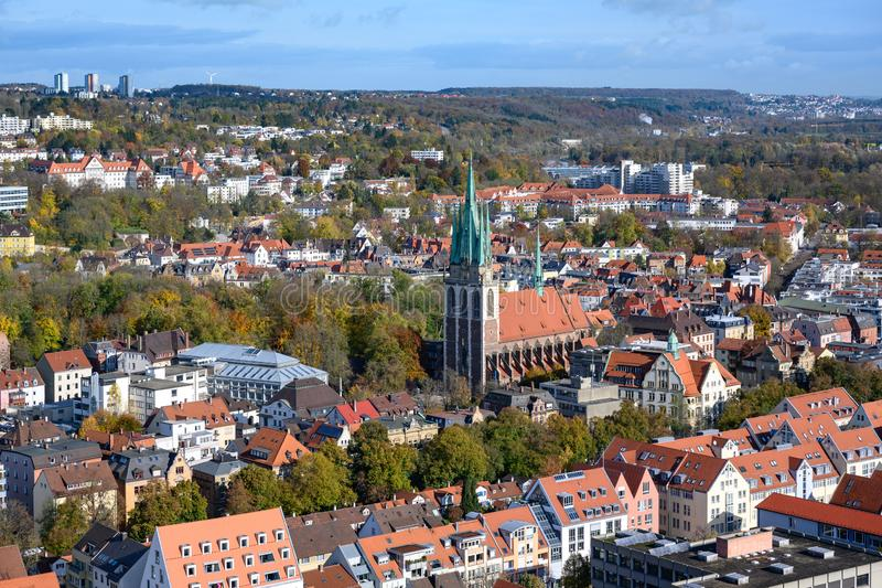Aerial view to City of Ulm with St. George`s Church - St. Georg, Baden-Wuerttemberg, Germany royalty free stock image