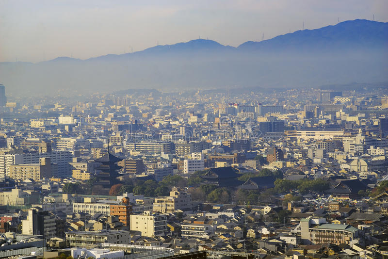 Aerial view of To Ji and Kyoto downtown cityscape. On Kyoto Tower, Japan stock photo