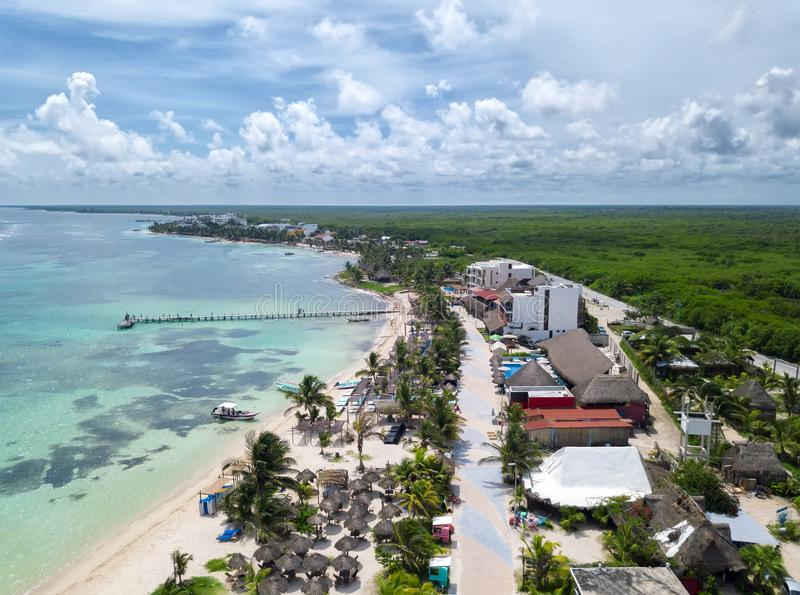Aerial view to Mahahual village at Quintana Roo, Mexico stock images