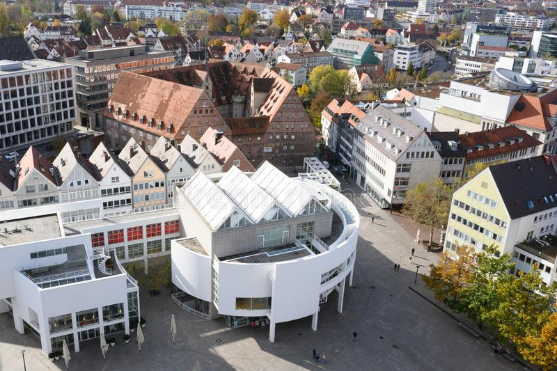 Aerial view from tower of Ulm Minster, Ulm Cathedral to City of Ulm Muensterplatz with Cityhouse, Baden-Wuerttemberg, Germany stock image