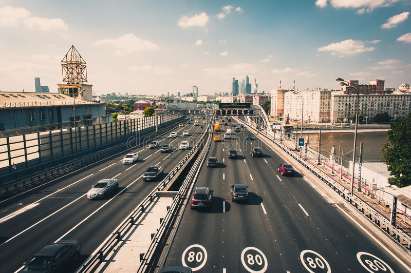Aerial view to Moscow Third Ring Road, Andreevskiy Bridge royalty free stock photo
