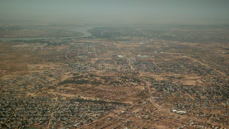 Aerial view to NDjamena and Chari or Chari river, Chad. Aerial view to NDjamena and Chari or Chari river, capital of Chad stock photo