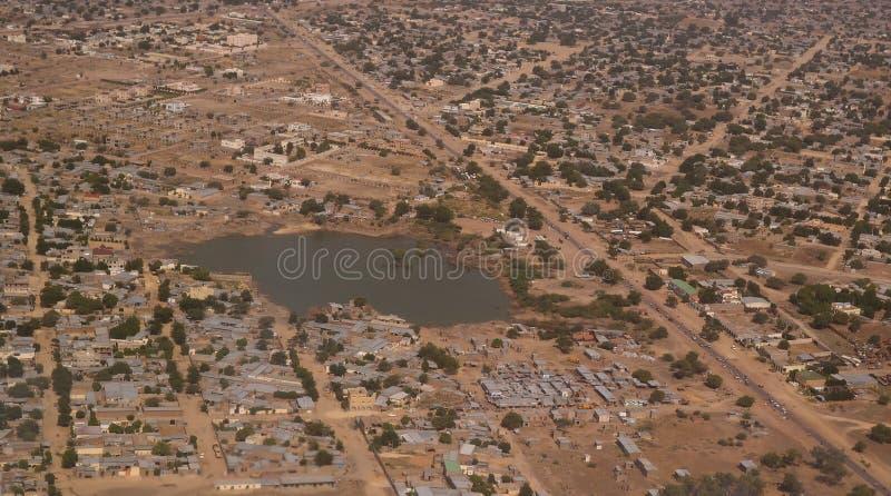 Aerial view to NDjamena and Chari or Chari river, Chad. Aerial view to NDjamena and Chari or Chari river, capital of Chad stock image