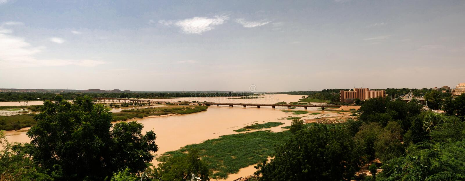 Aerial view to Niger river and Niamey city Niamey Niger. Aerial view to Niger river and Niamey city , Niger stock photos