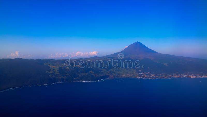 Aerial view to Pico volcano and island, Azores,Portugal. Aerial view to Pico volcano and island Azores,Portugal stock photo