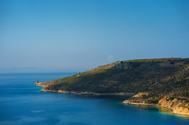 Beach with beautiful landscape in Albania royalty free stock photography