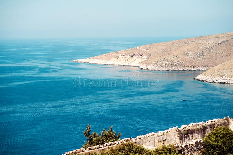 Beach with beautiful landscape in Albania stock photography