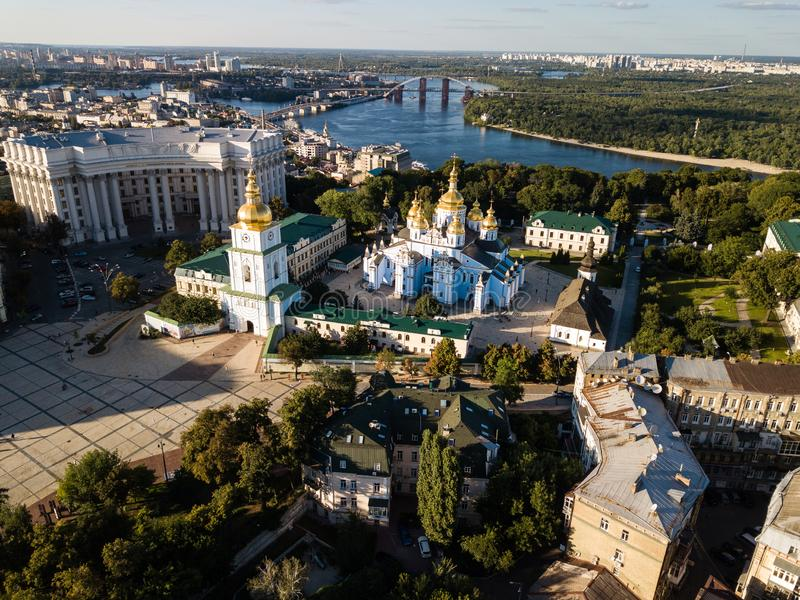 Aerial view to Saint Michael Golden Domed Cathedral in the center of Kyiv, Ukraine stock photo