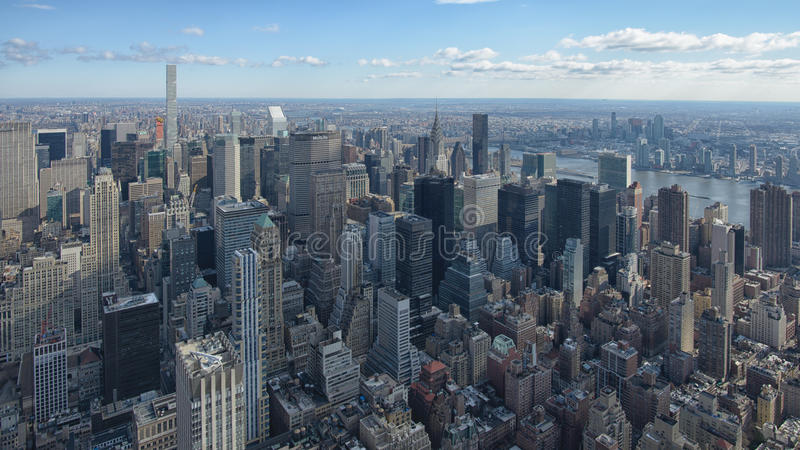 New York skyscrapers in the daytime. Aerial view to skyscrapers on Manhattan. New York, USA. View from observation deck royalty free stock photography