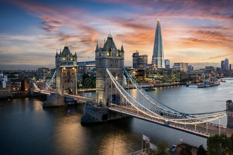 Aerial view to the Tower Bridge and skyline of London, UK royalty free stock image