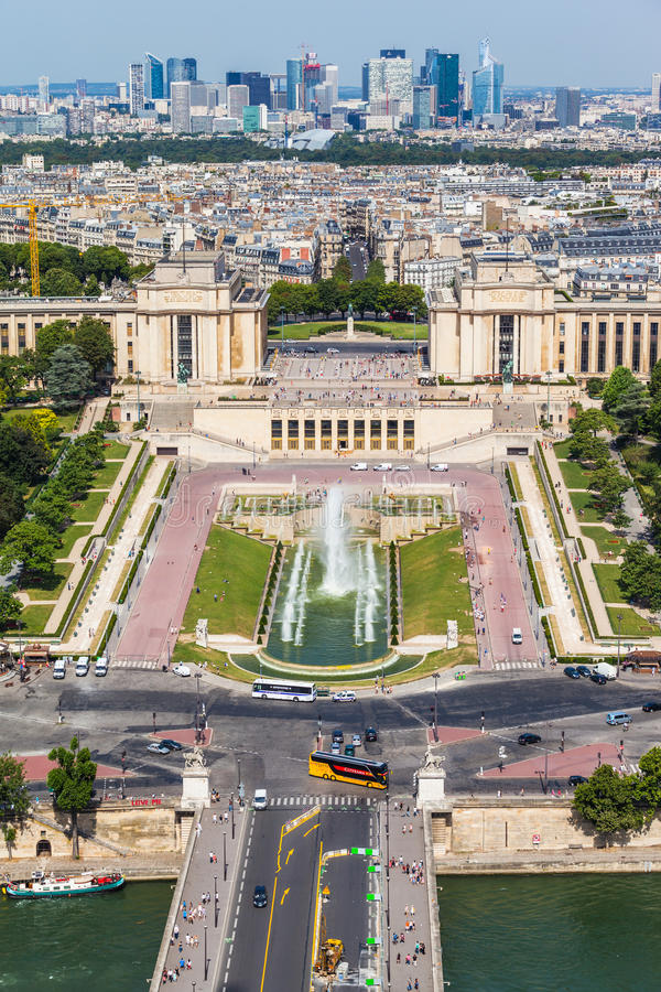 Aerial view to the Trocadero garden from Eiffel Tower royalty free stock photography