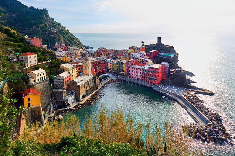 Aerial view to the Vernazza. Italy stock photography