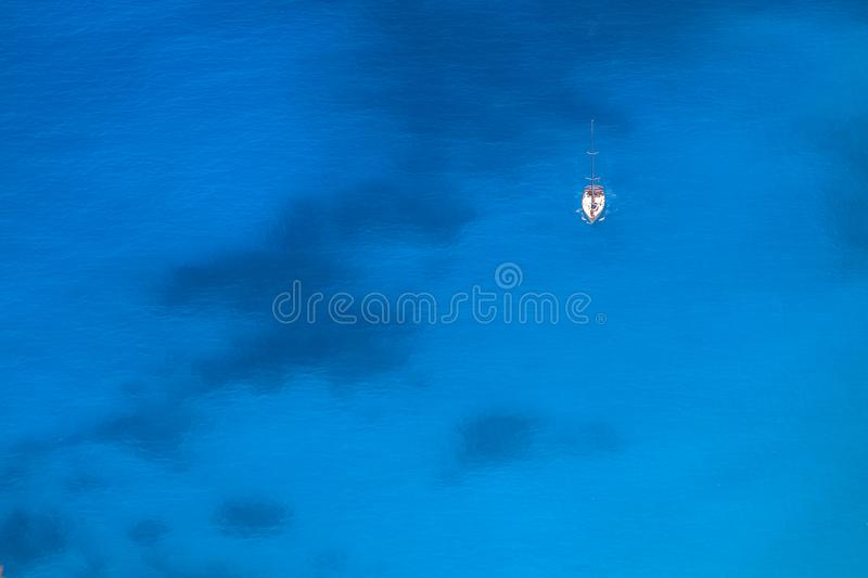 Aerial view to yacht and sea royalty free stock images