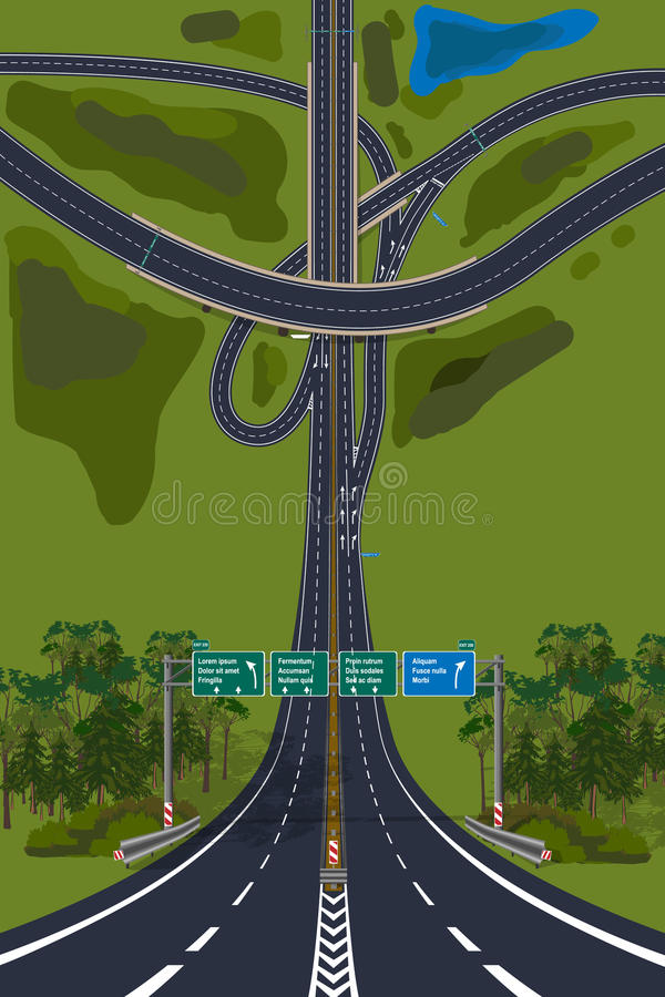 Aerial View - Top View Roads Intersections, Highways. Droneception vector illustration vector illustration