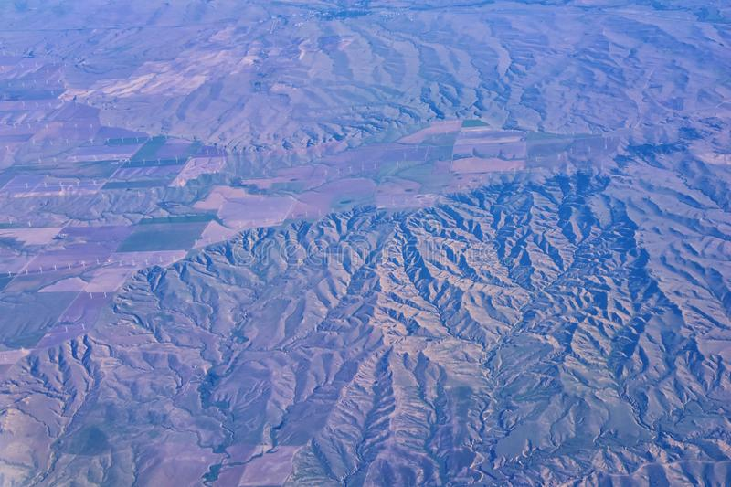 Aerial view of topographical landscapes over midwest states on flight over Colorado, Kansas, Missouri, Illinois, Indiana, Ohio an. D West Virginia during autumn stock photo