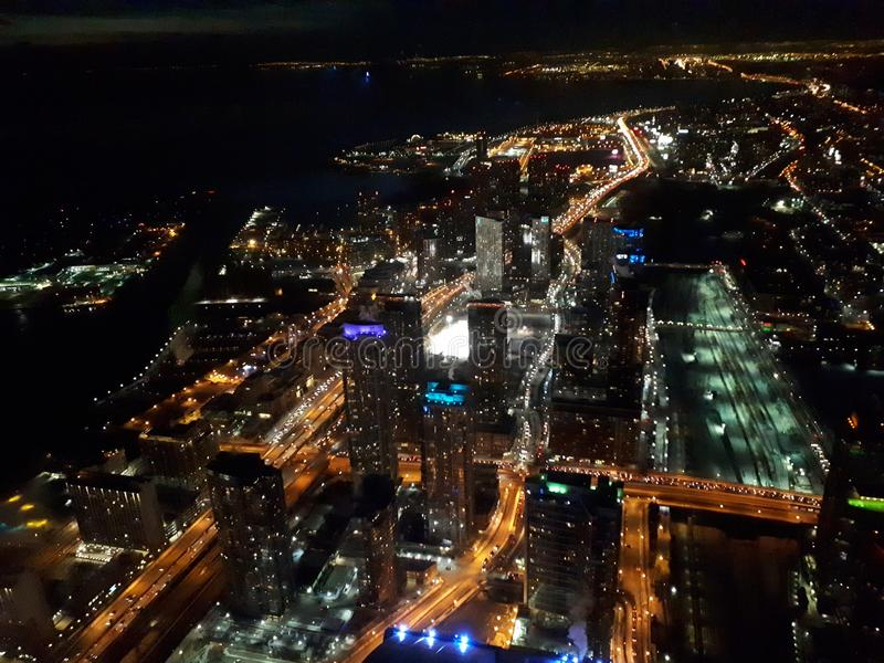 Aerial view of Toronto city at night. Aerial view of Toronto city at night stock photos