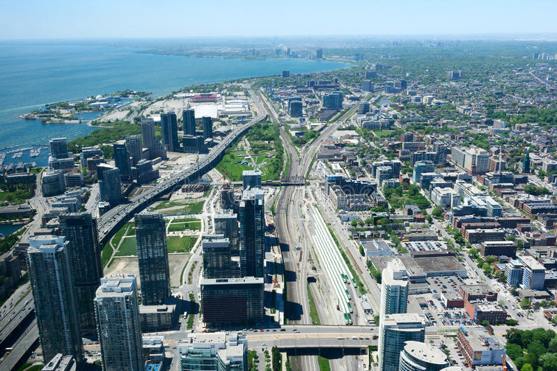 Aerial View of Toronto and Ontario Lake royalty free stock photo