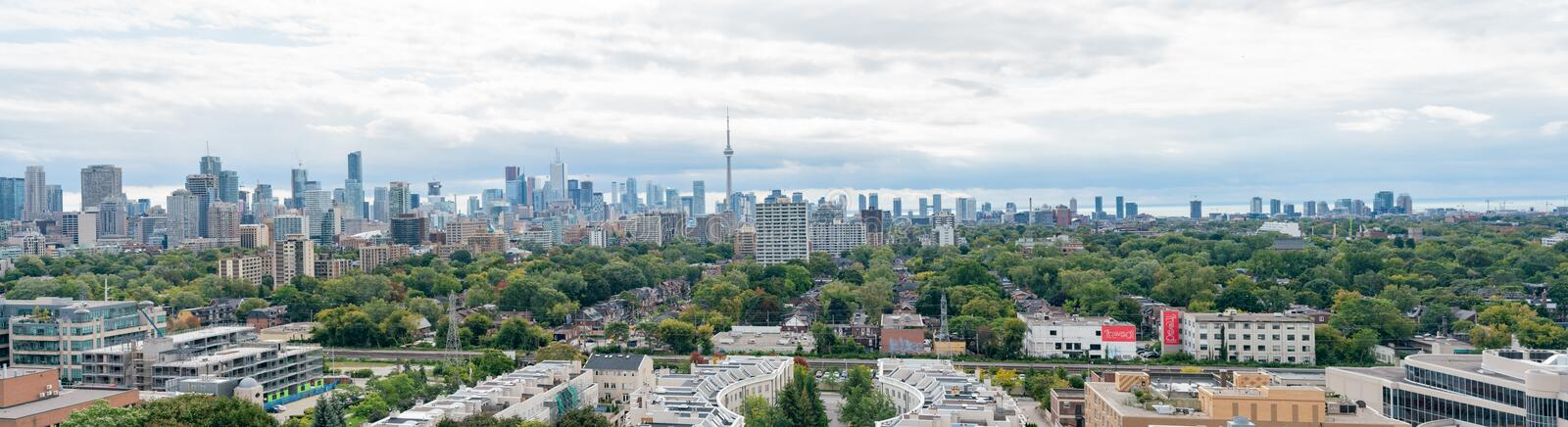 Aerial view of the Toronto skyline with CN Tower from Casa Loma. At Canada royalty free stock photo