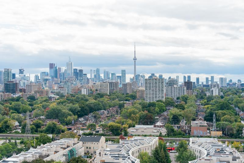 Aerial view of the Toronto skyline with CN Tower from Casa Loma. At Canada royalty free stock photography