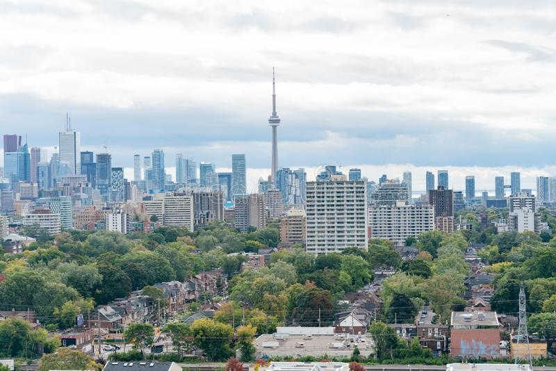 Aerial view of the Toronto skyline with CN Tower from Casa Loma stock image