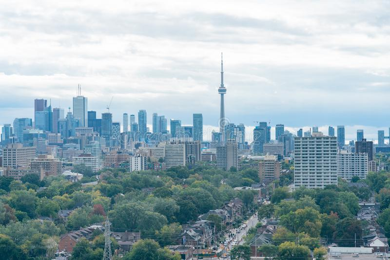 Aerial view of the Toronto skyline with CN Tower from Casa Loma. At Canada stock photo