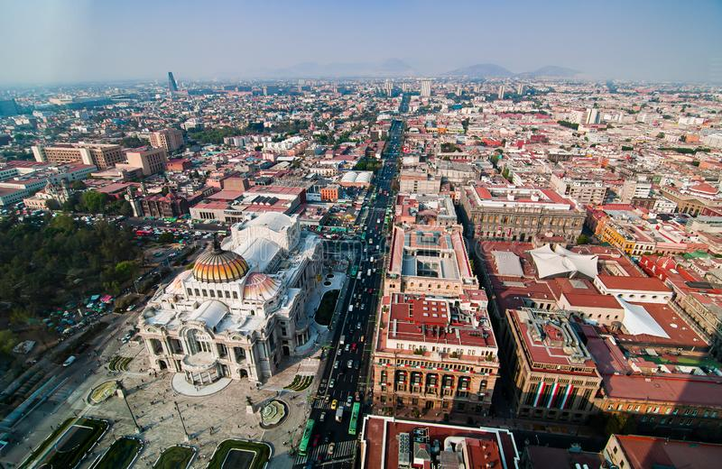 Aerial view of Torre Latinoamericana to Mexico City downtown stock photography