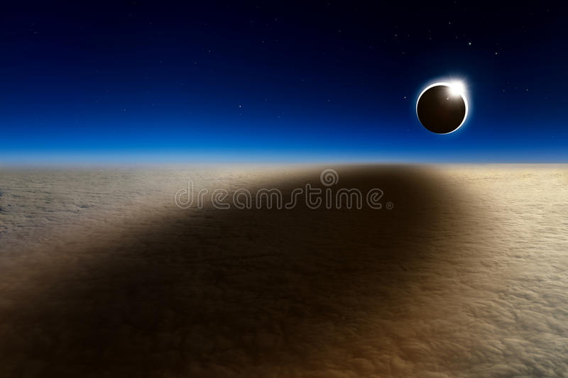 Aerial view of total solar eclipse. Amazing scientific background - aerial view of total solar eclipse, mysterious natural phenomenon when Moon passes between royalty free stock image