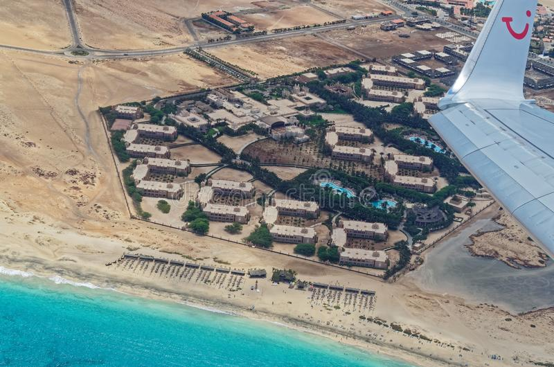 Aerial view of of the tourist resorts Riu Palace and Riu Funana from TUI airplane. Island Sal, Cape Verde stock photos