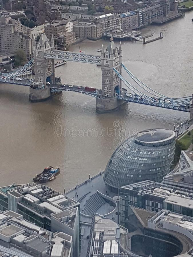Aerial view of Tower Bridge and the Lord Mayor& x27;s office taken from The Shard at London Bridge stock images