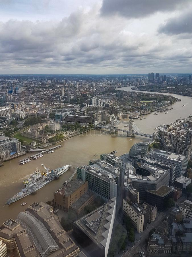Aerial view of the Tower of London Tower Bridge HMS Belfast and the Lord Mayor& x27;s office taken from The Shard London royalty free stock image