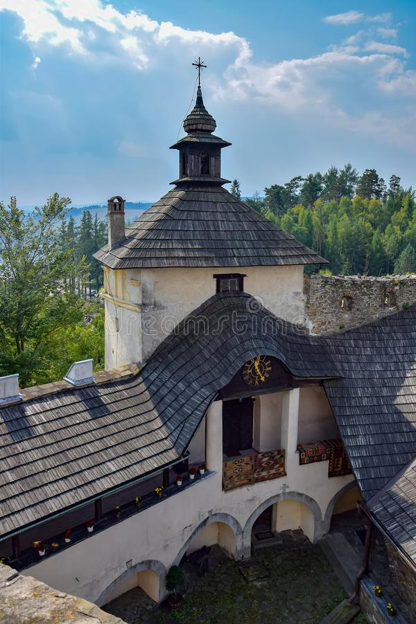 Aerial view of tower of Niedzica Castle in Southern Poland. Aerial view of tower of medieval Niedzica Castle on Dunajec river, Southern Poland. Niedzica Castle stock photos