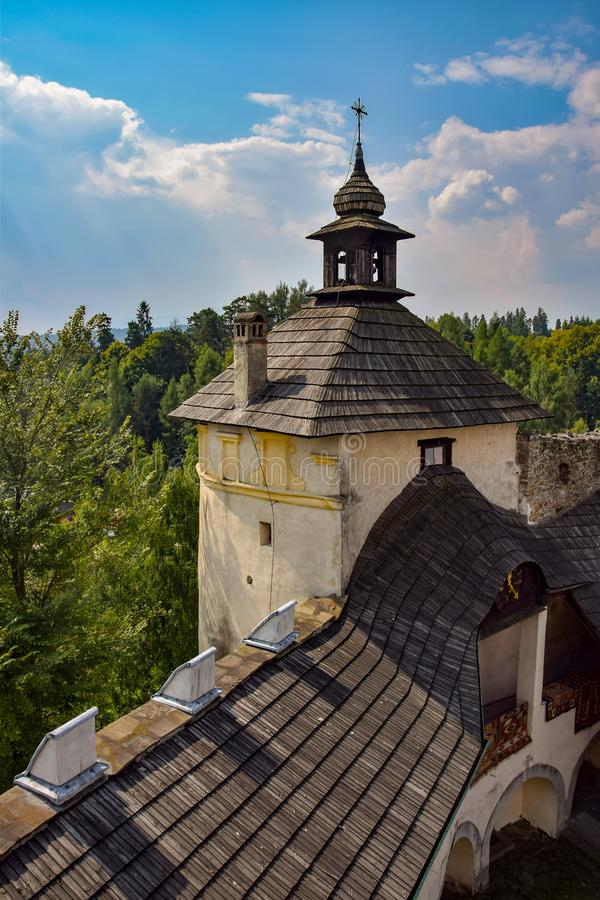 Aerial view of tower of Niedzica Castle in Southern Poland. Aerial view of tower of medieval Niedzica Castle on Dunajec river, Southern Poland. Niedzica Castle royalty free stock images