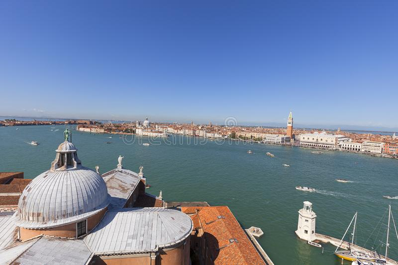Aerial view from the tower of San Giorgio Maggiore church on St. Mark`s Basin, city panorama, Venice, Italy stock photography