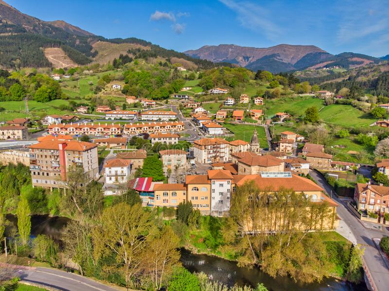 Aerial view of town, Basque country, Spain royalty free stock photography