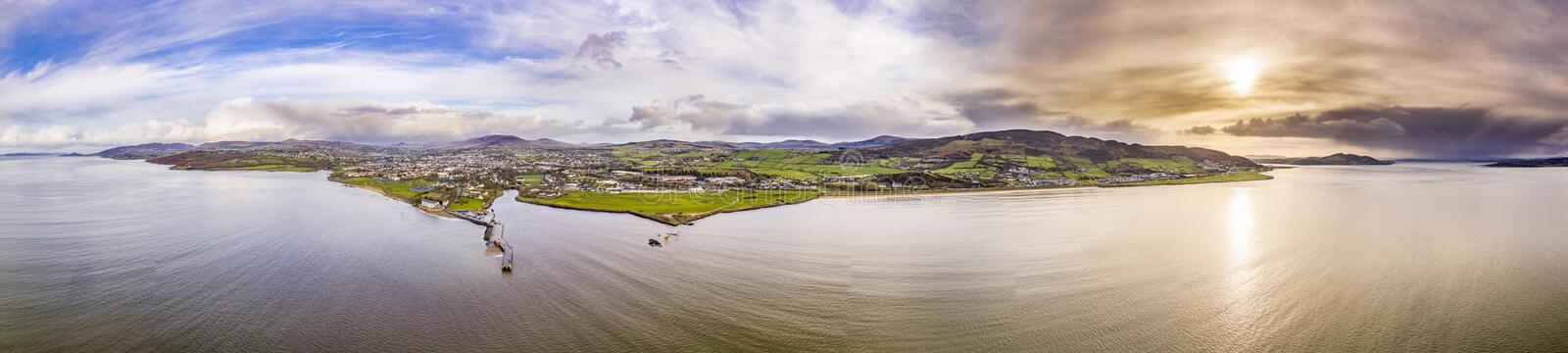 Aerial view of the town Buncrana in County Donegal - Republic of Ireland.  stock images