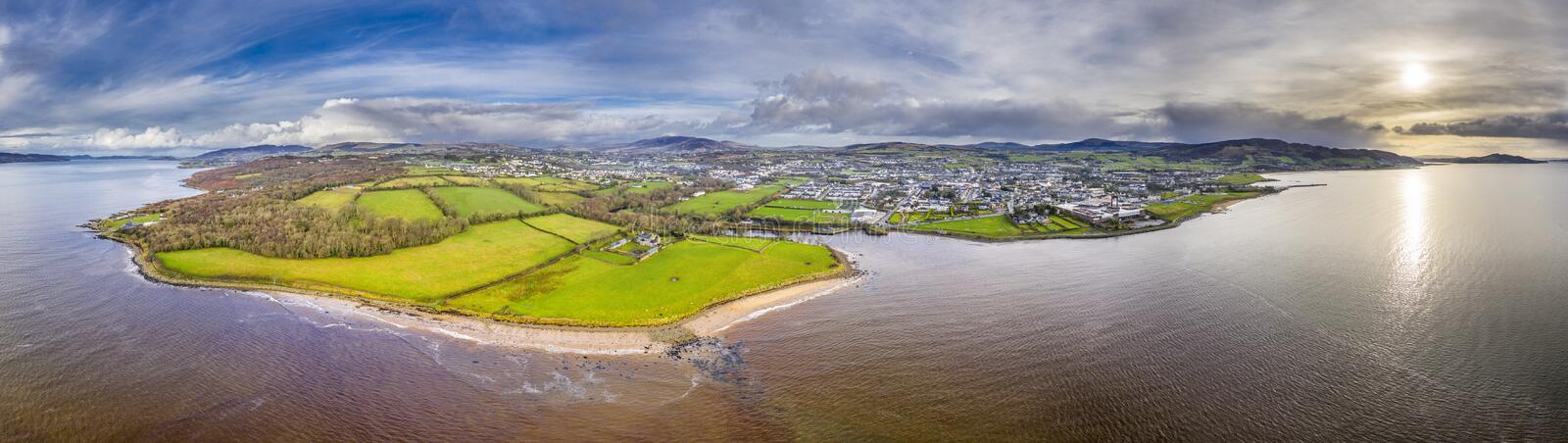 Aerial view of the town Buncrana in County Donegal - Republic of Ireland.  royalty free stock photos
