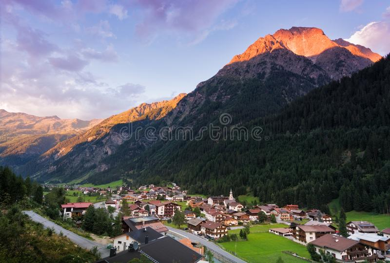 Aerial view of the town of Feichten im Kaunertal royalty free stock images